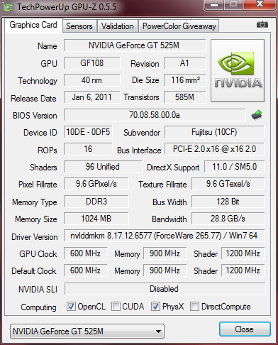 GPU-Z (Nvidia GeForce GT 525M)