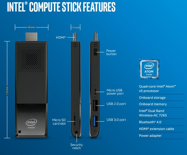 Intel Compute Stick s procesory Cherry Trail