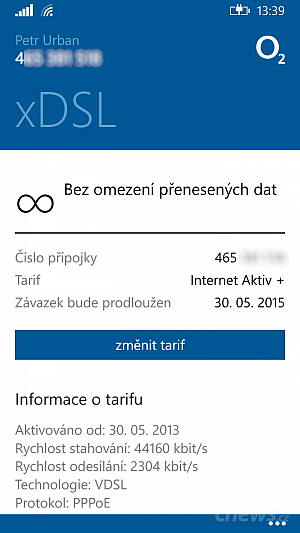 Moje O2 pro Windows Phone