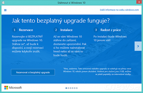 Rezervace upgradu na Windows 10