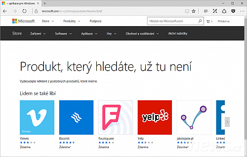 Windows Store opustil YouTube