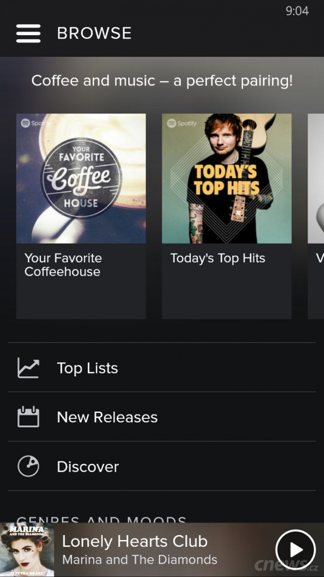 Spotify 5.0 pro Windows Phone