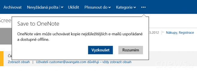 Outlook.com má nově export do OneNotu
