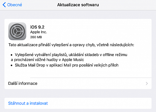 Apple vydal iOS 9.2