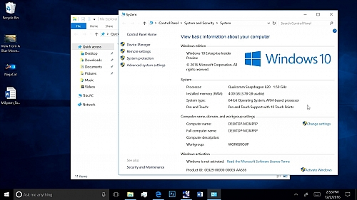 Windows 10 na Snapdragonu 820