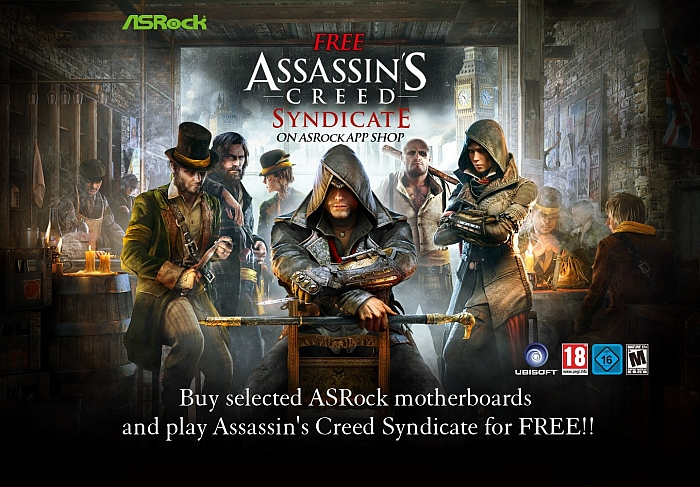 Assassin's Creed Syndicate zadarmo k deskám ASRock