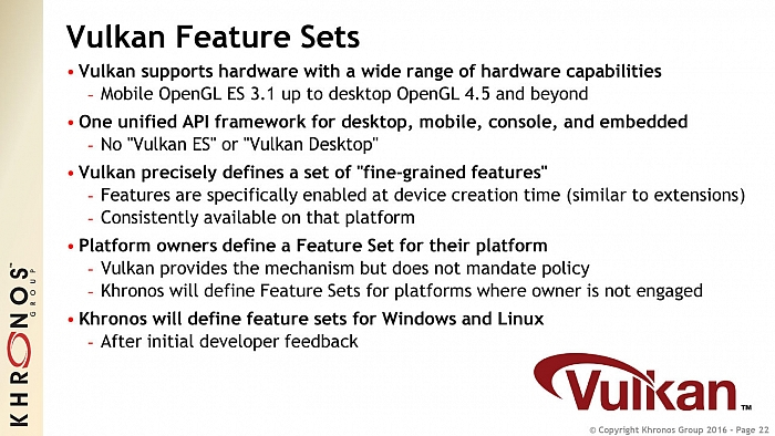 Vulkan feature sets