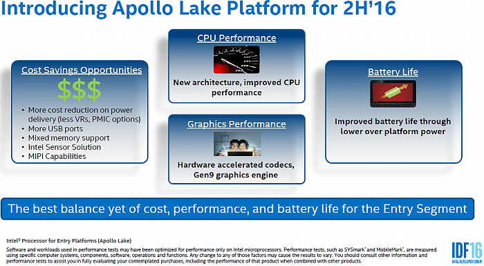 Intel odhaluje procesory Apollo Lake (IDF16)