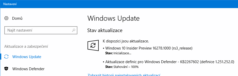 Je k dispozici Windows 10 build 16278