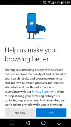Microsoft Edge Preview pro Android