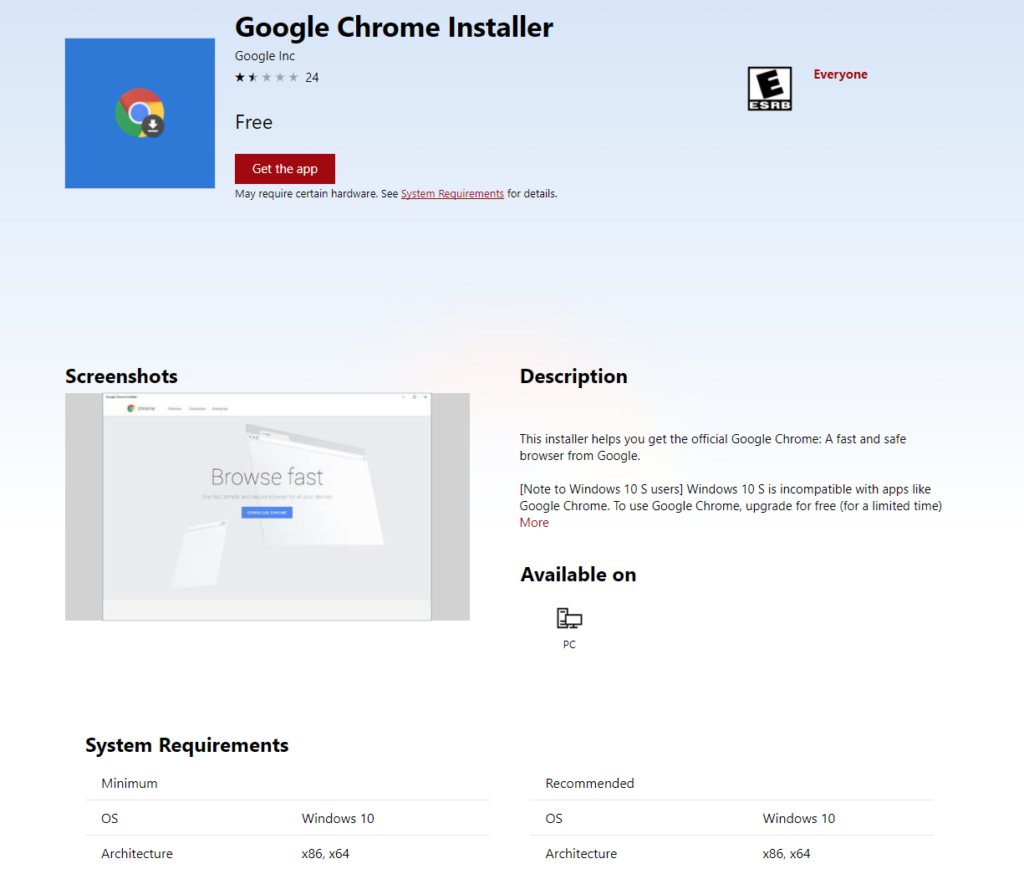 Google Chrome Installer v Microsoft Storu