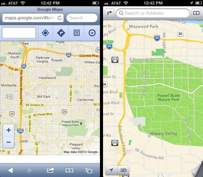 iOS 6: Google Maps vs. Apple Maps