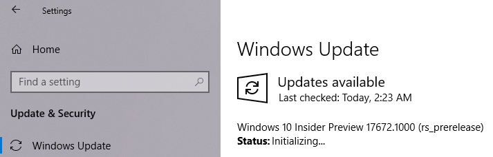 Windows 10 Insider Preview build 17672