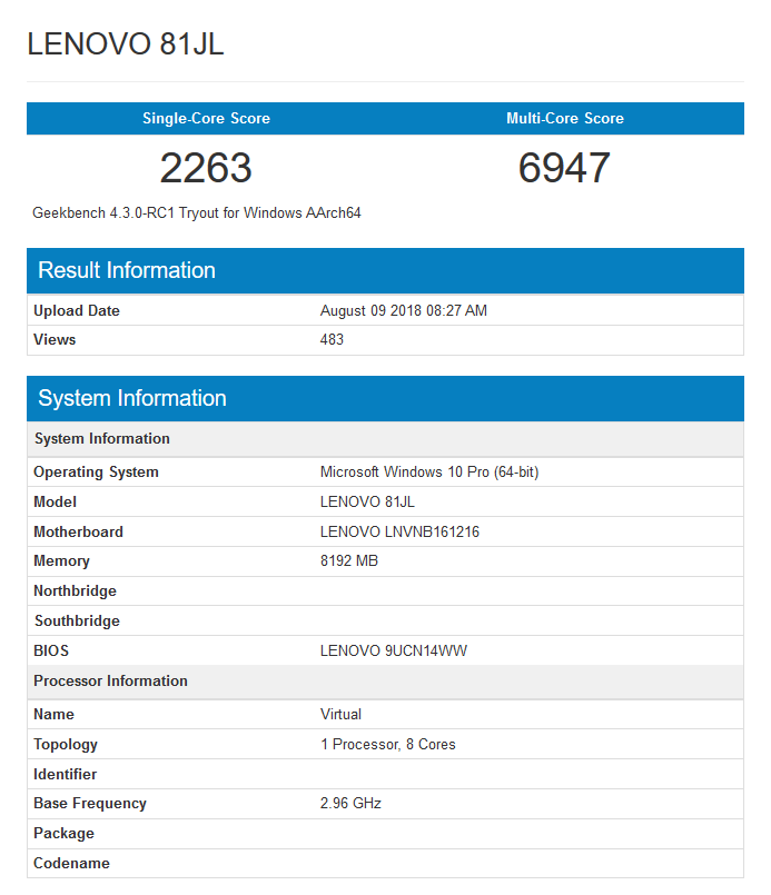 Výsledky Geekbench 4.3.0 pro Snapdragon 850