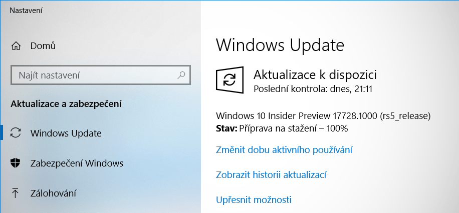 Ve Fast ringu je k dispozici Windows 10 Insider Preview build 17728