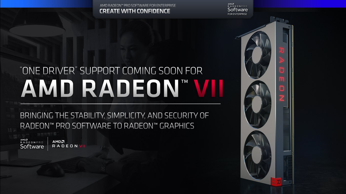 Ovladace AMD Radeon Pro Software for Enterprise One Driver Radeon VII