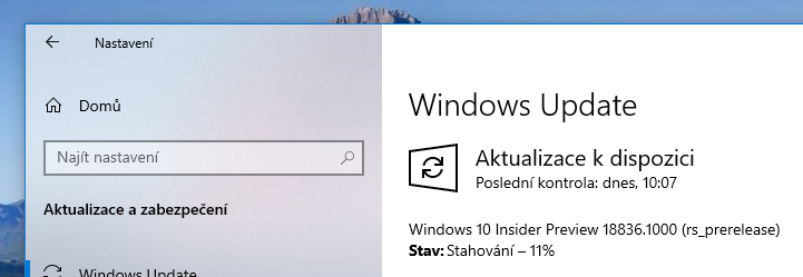 Windows 10 Insider Preview build 18836 instalace