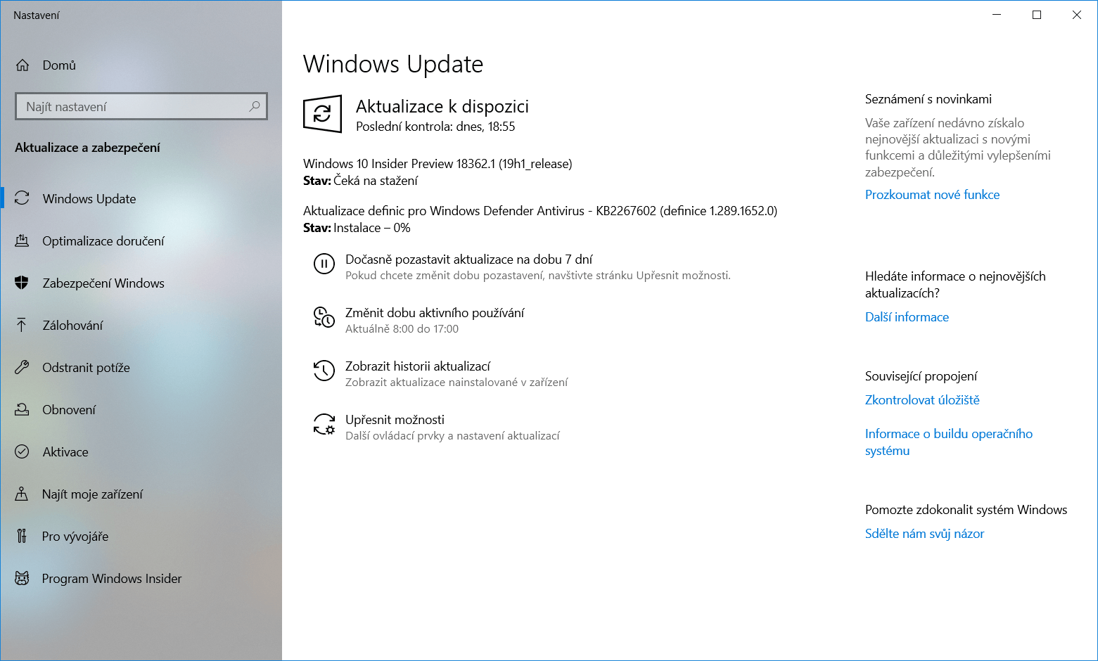 Windows 10 Insider Preview Build 18362