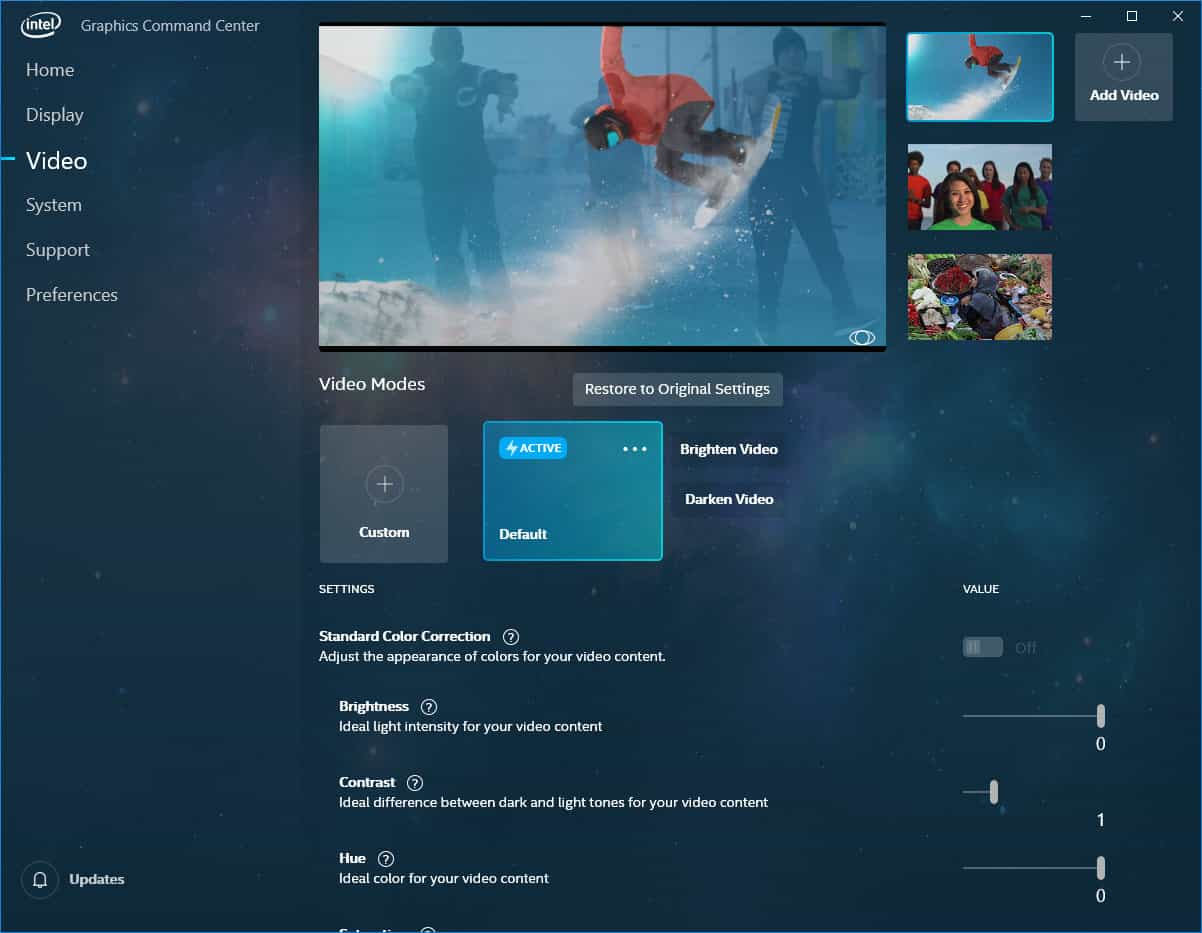 Screenshoty Intel Graphics Command Center Zdroj AnandTech 10