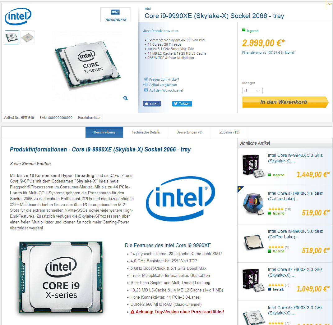 Intel Core i9 9900XE Caseking