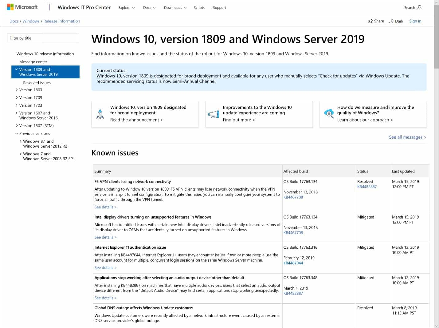 windows 10 infromovani historie