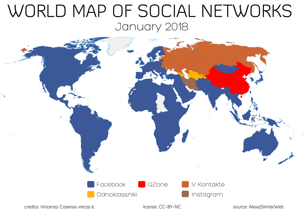 world map social networks january 2018
