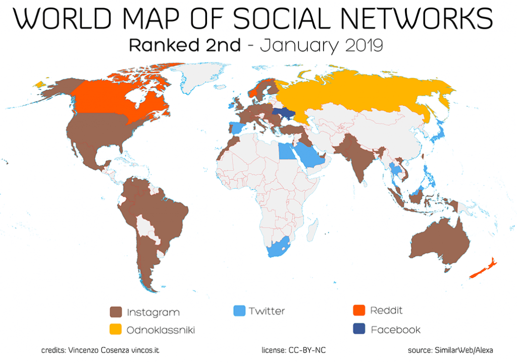 world map social networks january 2019 2nd