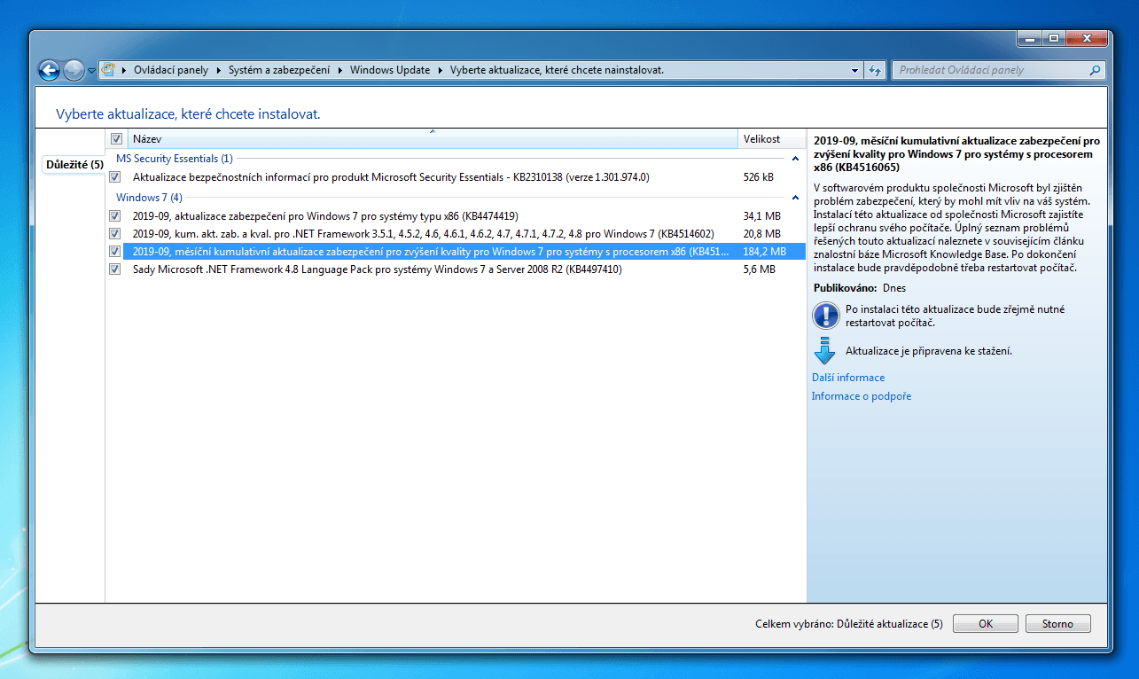 aktualizace windows update msft 09 2019 3