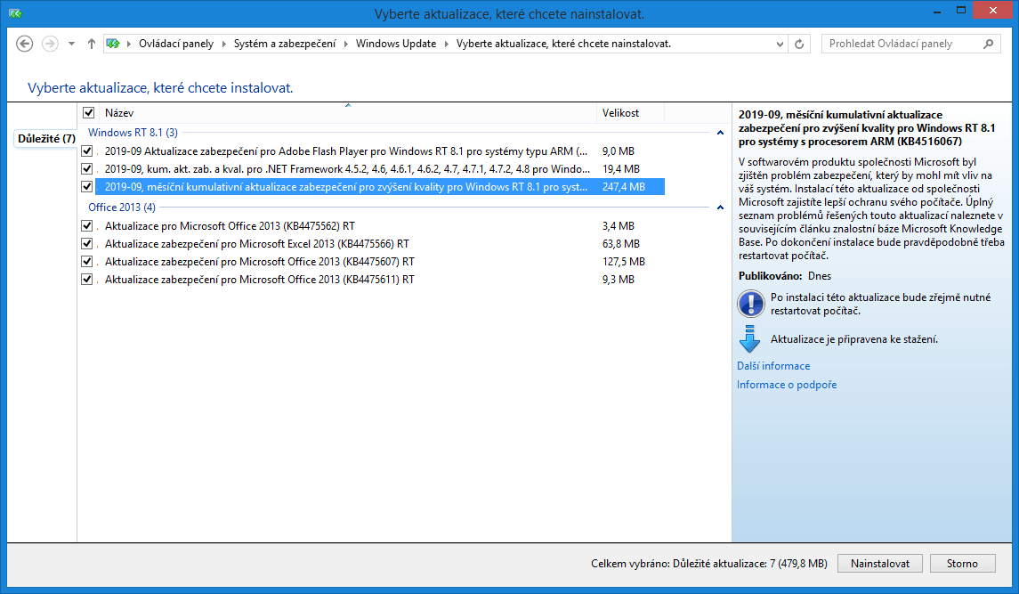 aktualizace windows update msft 09 2019 4
