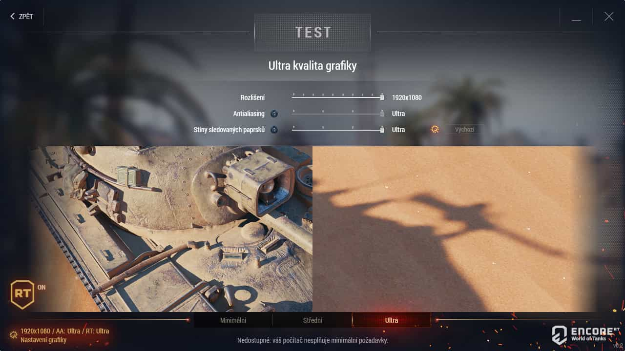 Konfigurace benchmarku World of Tanks enCore RT
