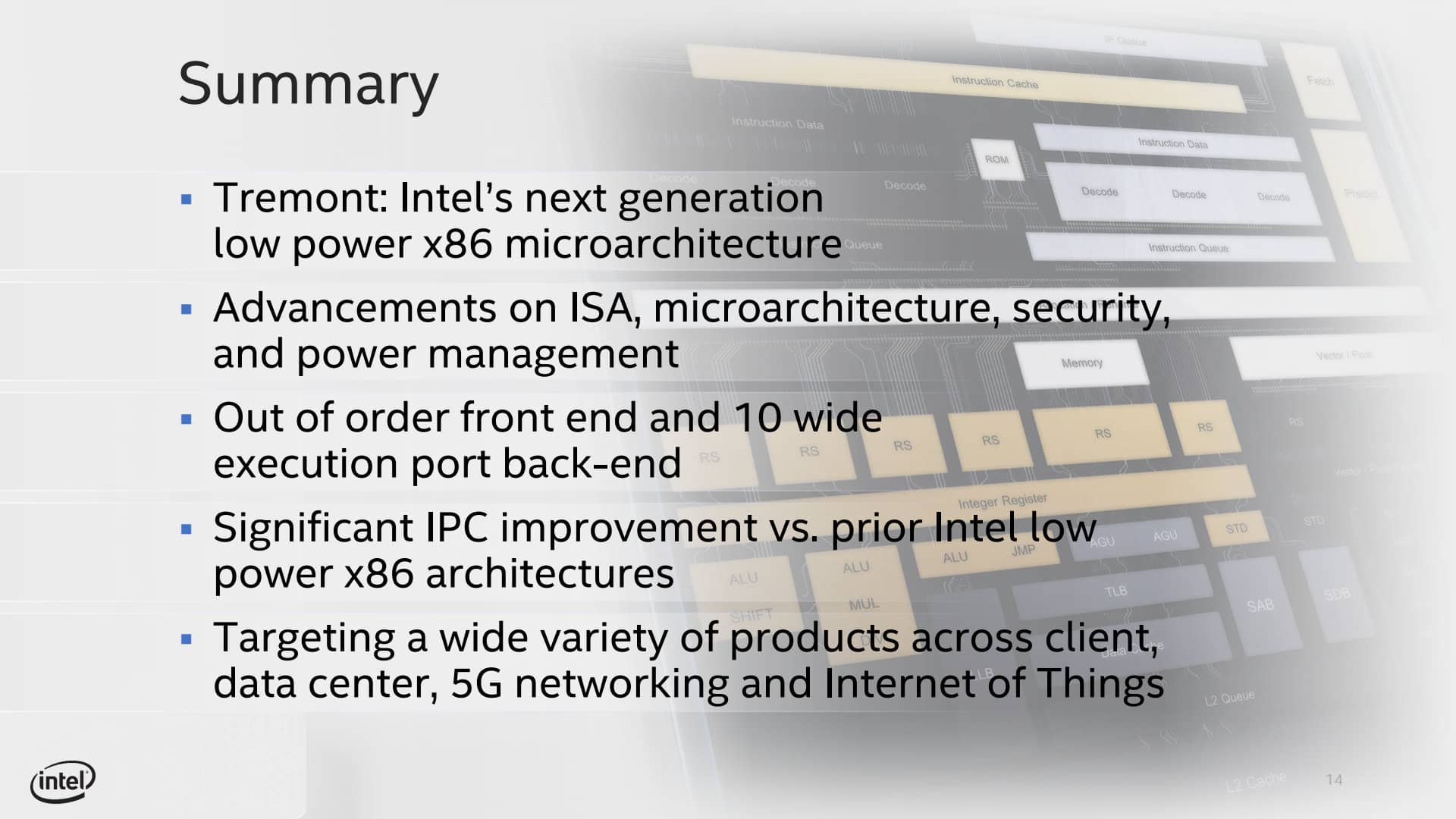Prezentace CPU architektury Intel Tremont 13