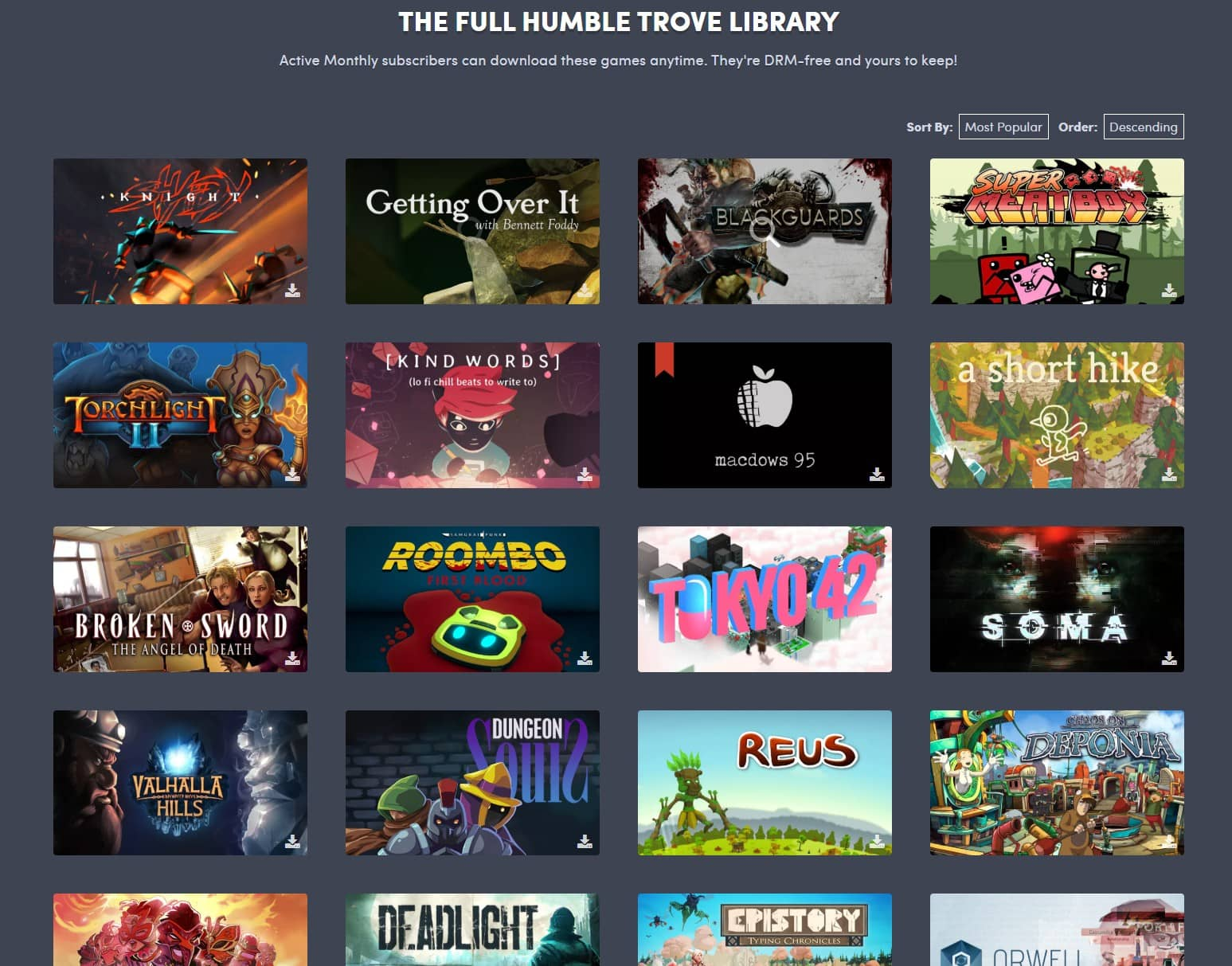 Hry v DRM-free knihovně Humble Trove