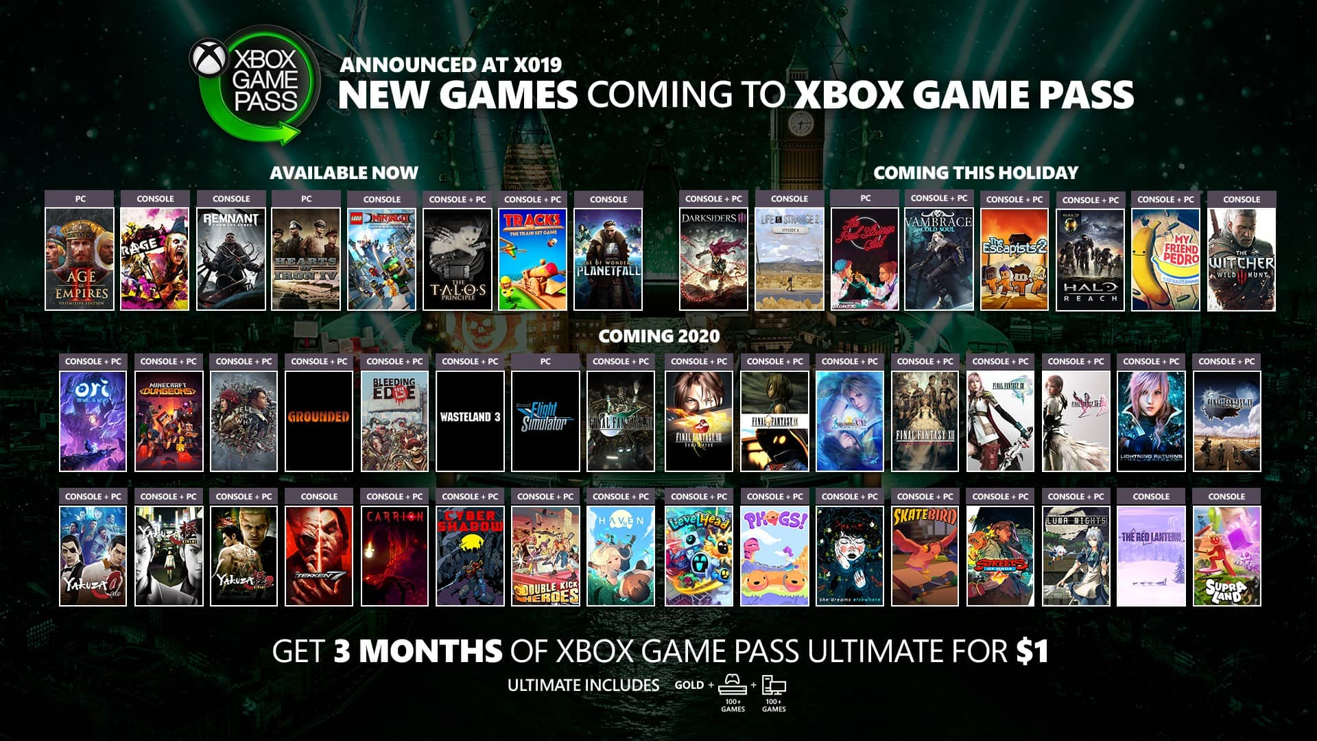 microsoft x019 game pass