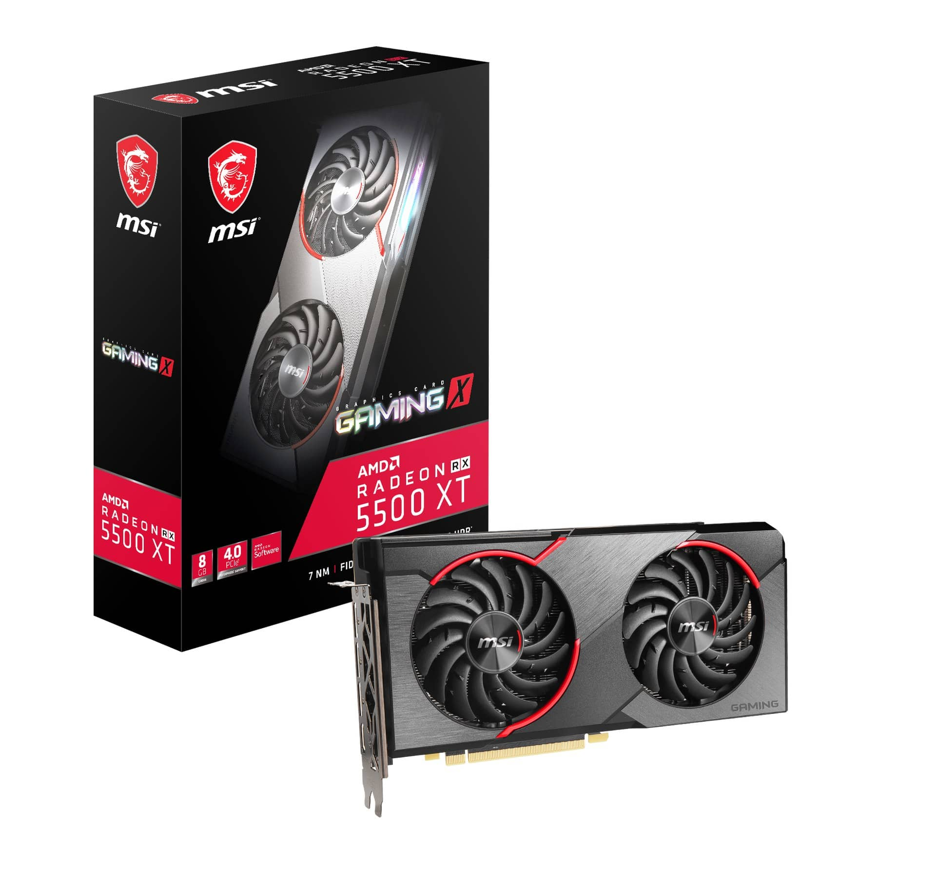 msi radeon rx 5500 xt gaming x 8g product photo boxcard