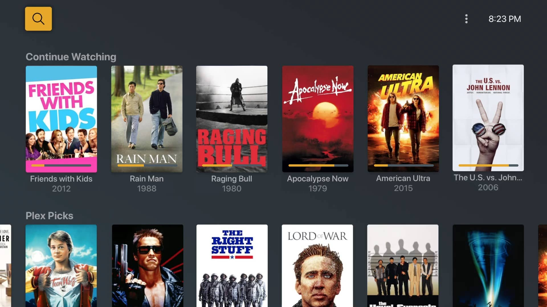 plex movies and tv home