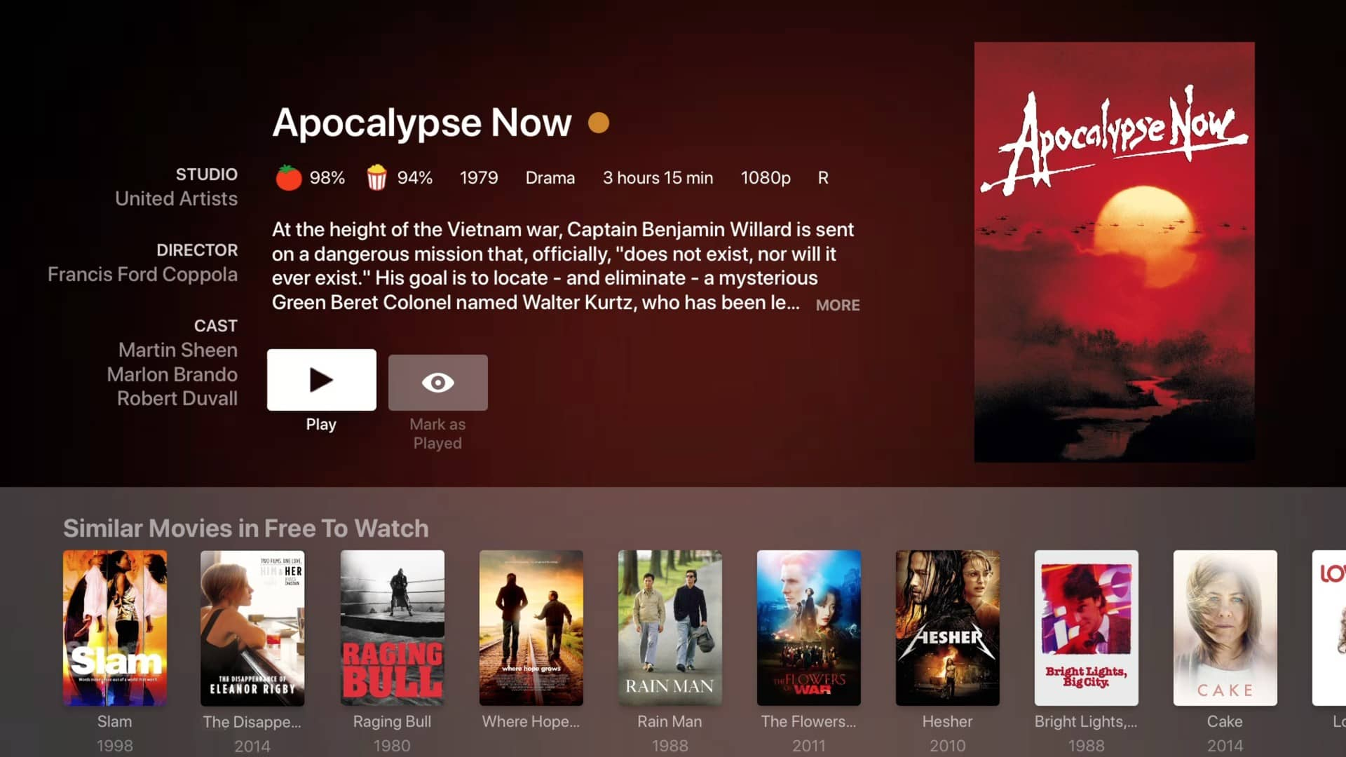 plex movies and tv preplay apocalypse now
