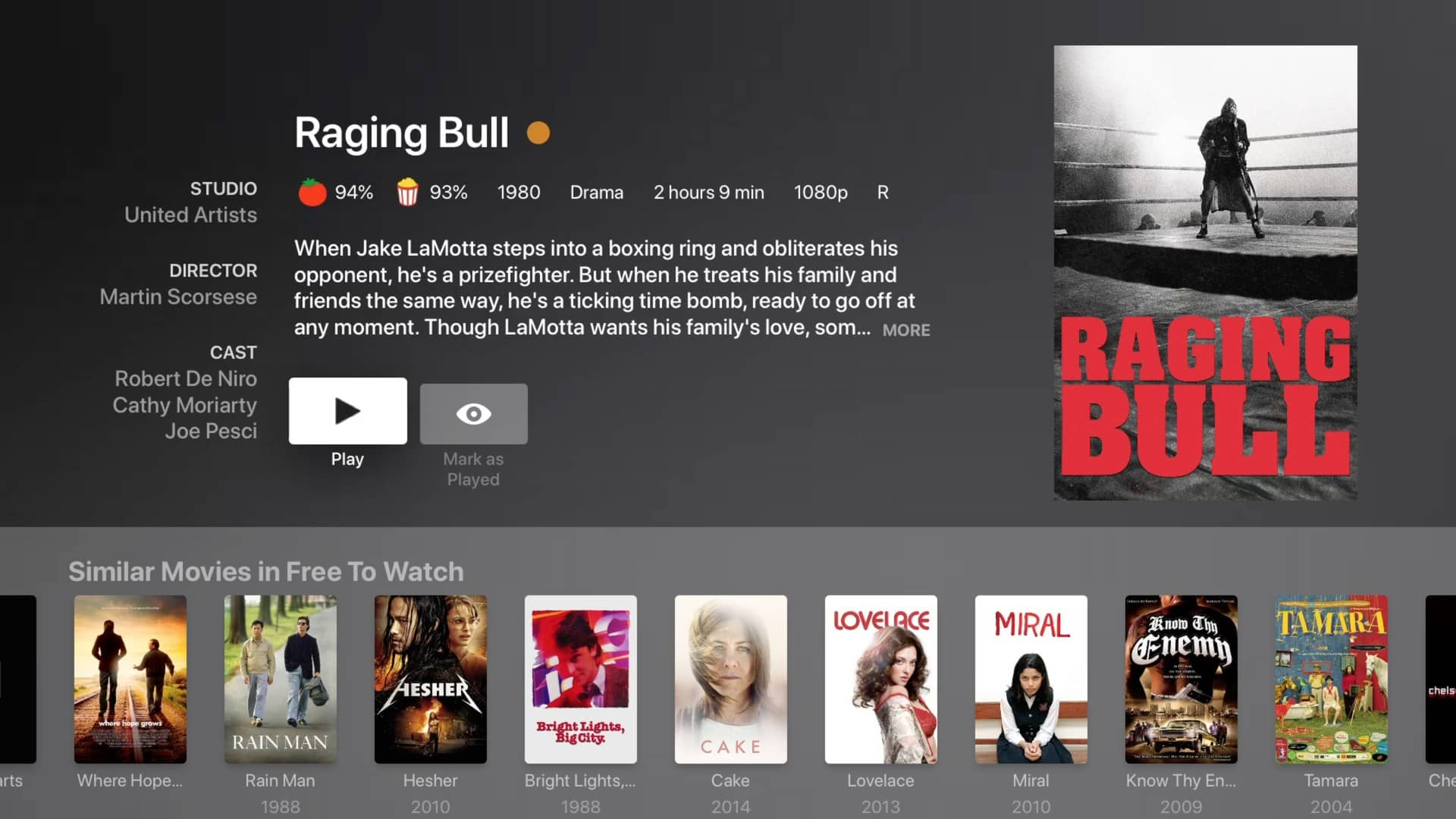 plex movies and tv preplay raging bull