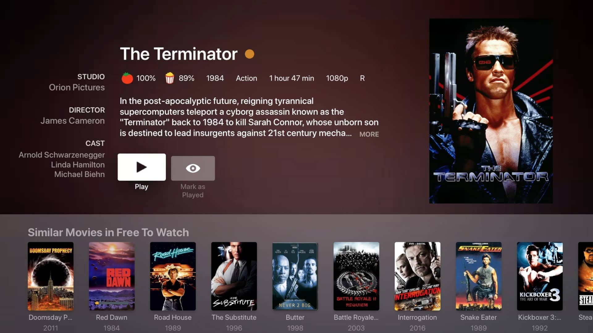 plex movies and tv preplay terminator