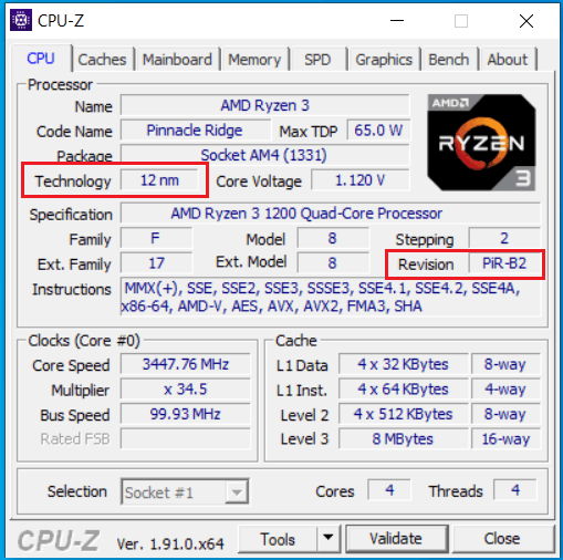 Screenshot CPU Z pro AMD Ryzen 3 1200 AF Zdroj SteDi Gaming