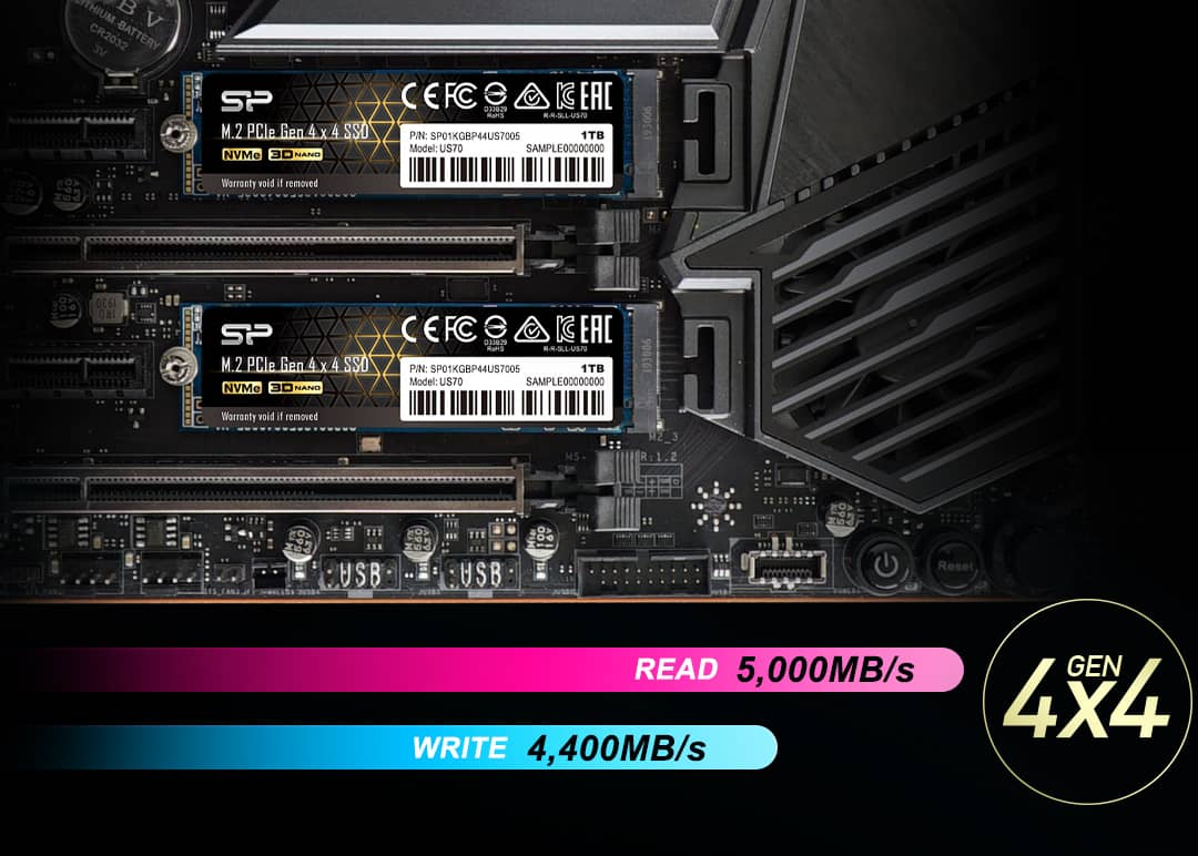 SSD Silicon Power US70 ve slotu