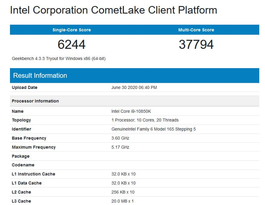 Intel Core i9 10850K v databázi Geekbench detail