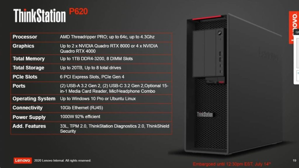 Lenovo ThinkStation P620 10