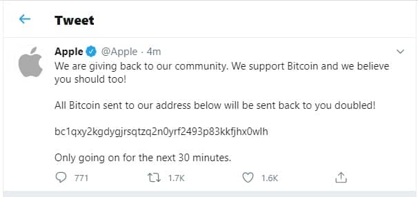 Twitter BTC podvod Apple
