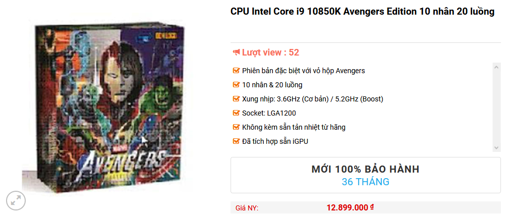 Intel Core i9 10850K Avengers Edition KCC Shop