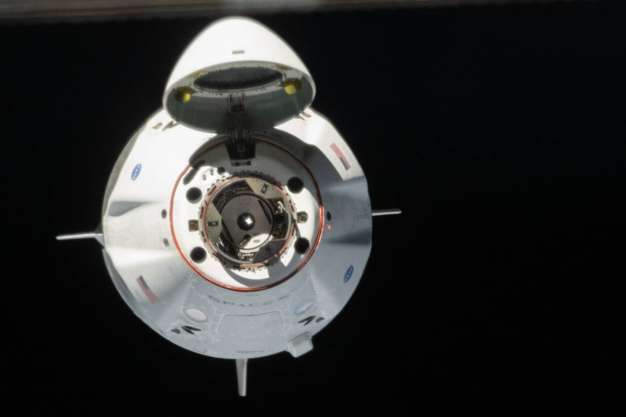 SpaceX Crew Dragon As It Approached the Space Station
