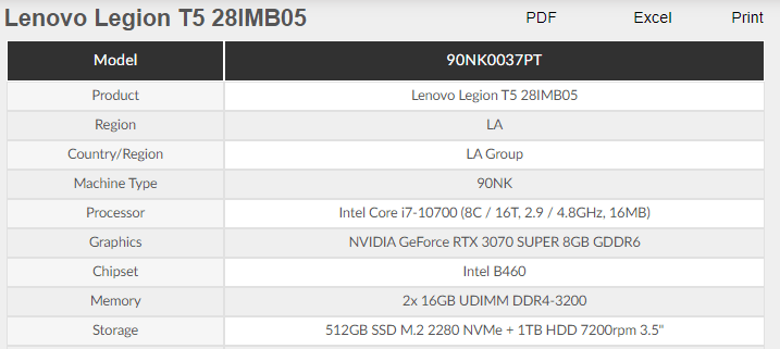 Nvidia GeForce RTX 3070 Super 8GB v dokumentech Lenova 2